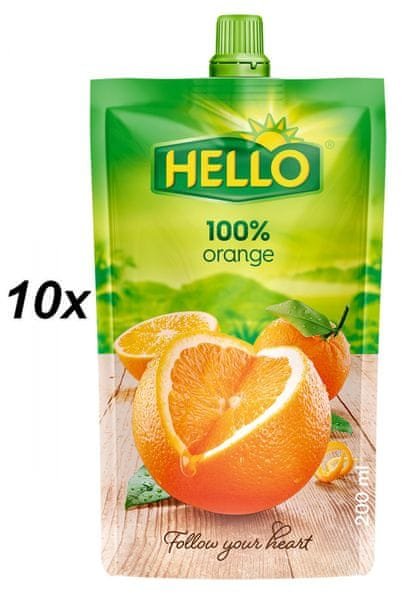 Hello 100% pomeranč 10x200ml