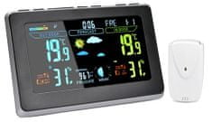 Solight meteostanica, extra veľký farebný LCD, teplota, vlhkosť, tlak, RCC, čierna-strieborná