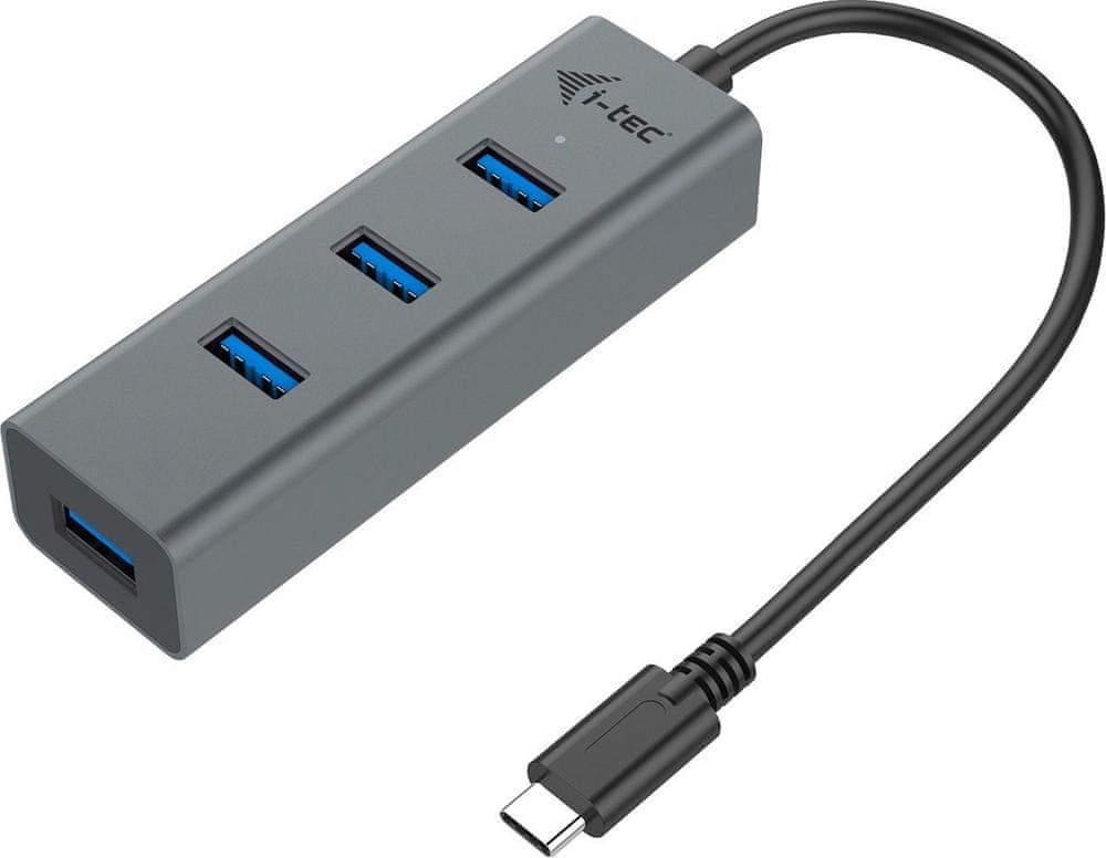 I-TEC USB-C Metal 4-portový HUB, 4x USB 3.0 C31HUBMETAL403