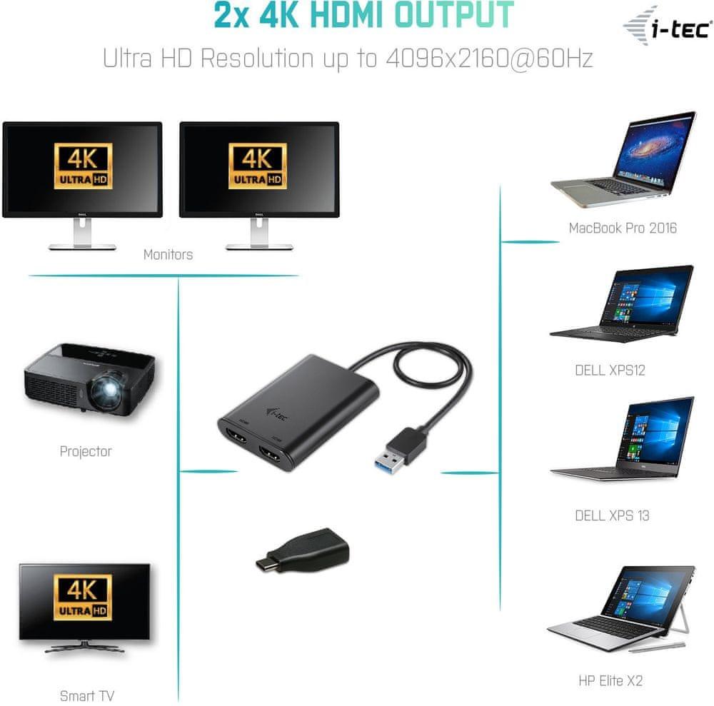 I-TEC USB 3.0 HDMI 2x 4K Ultra HD Display Adapter U3DUAL4KHDMI - rozbaleno
