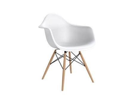 Mørtens Furniture Jídelní židle s dřevěnou podnoží Blom, bílá