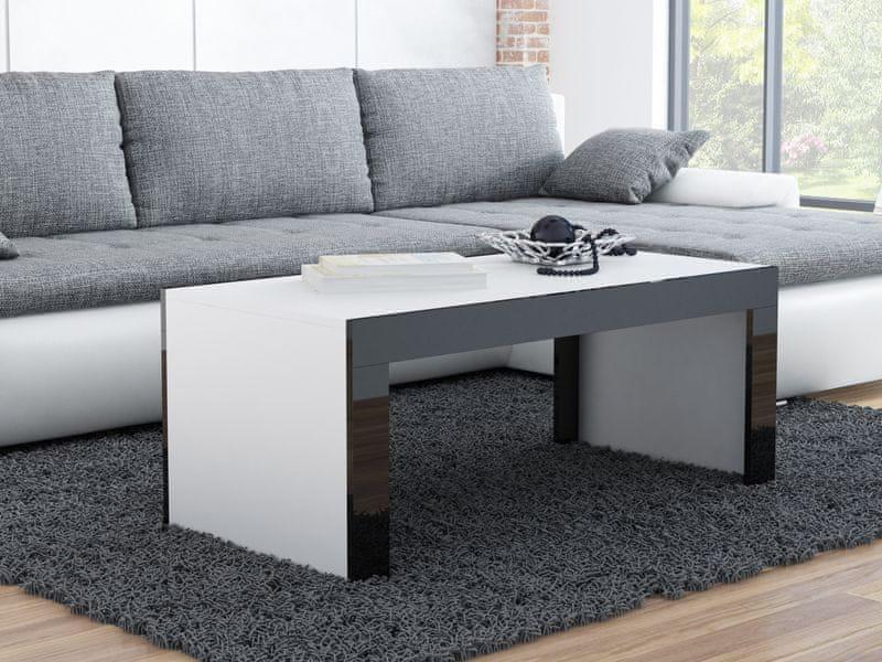 Konferenční stolek TESS, bílý mat/černý lesk