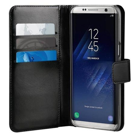 Puro preklopni ovitek Duetto za Samsung Galaxy S8, usnjen črn