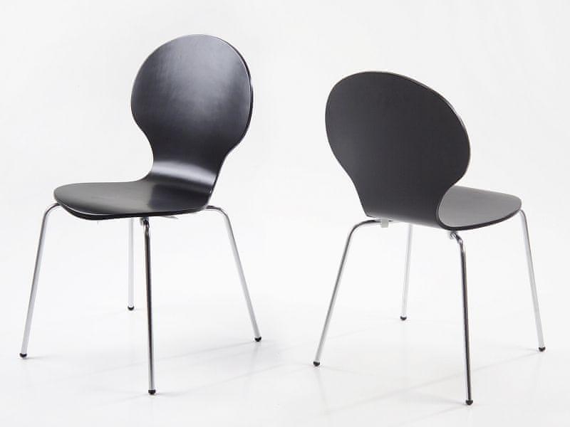 Design Scandinavia Jídelní překližková židle Line (SET 4 ks), černá