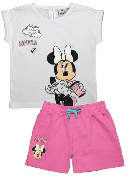E plus M dívčí letní set Minnie 122 bílá/růžová