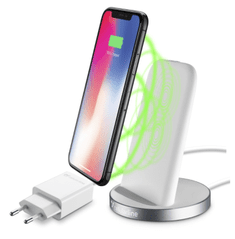CellularLine brezžična polnilna postaja Wireless Fast Charger Stand Kit za iPhone, bela
