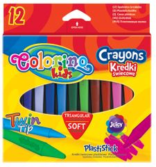 Pastelky voskové Colorino trojhranné  12 barev Plastistick