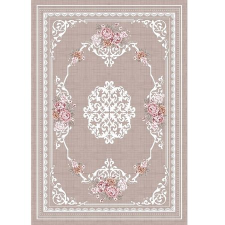 Koberec, svetlohnedý/vzor kvety, 120x180, SEDEF