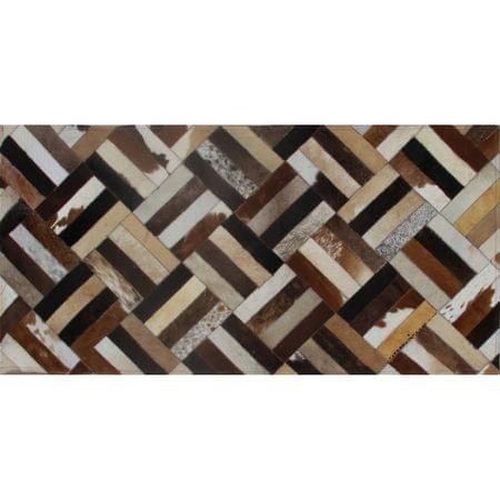 Luxusný kožený koberec, hnedá/čierna/béžová, patchwork, 70x140 , KOŽA TYP 2