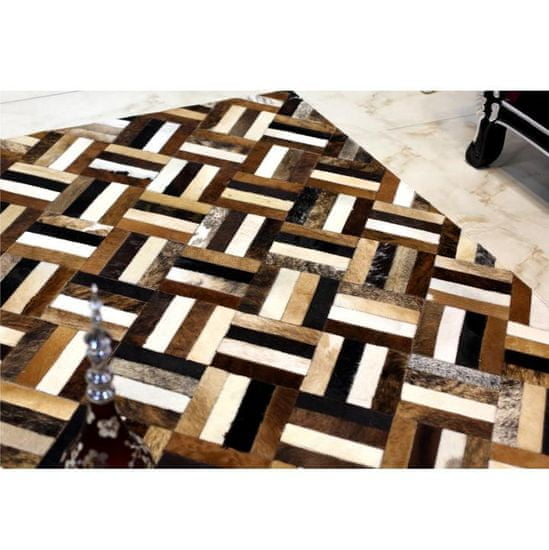 KONDELA Typ 2 kožený koberec 170x240 cm vzor patchwork