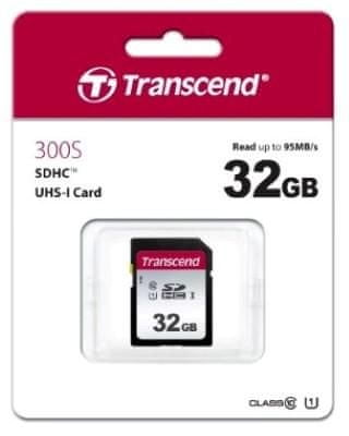 Transcend SDHC pomnilniška kartica 300S, 32 GB, 95/45 MB/s, C10, UHS-I U3, V30