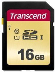 Transcend SDHC pomnilniška kartica 500S, 16 GB, 95/60 MB/s, MLC, C10, UHS-I U3, V30