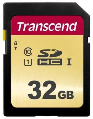 Transcend SDHC memorijska kartica 500S, 32 GB, 95/60 MB/s, MLC, C10, UHS-I U3, V30