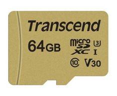 Transcend microSDXC pomnilniška kartica 500S, 64 GB, 95/60 MB/s, MLC, C10, UHS-I U3, V30, adapter