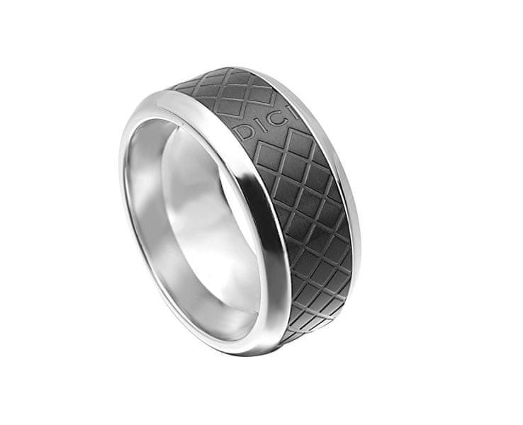 Pánský prsten s černým vzorem DCRG5015020 (Obvod 60 mm)