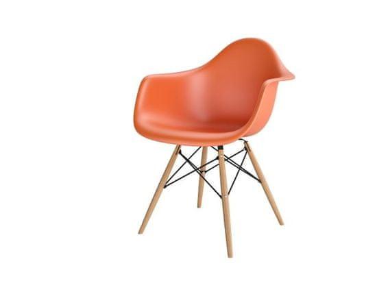 shumee P018W PP oranžni stol, HF lesene noge