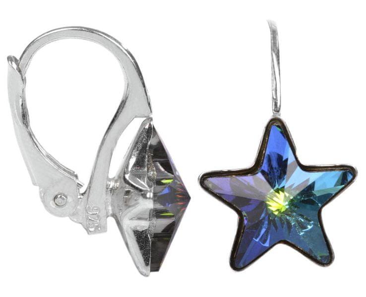 Troli Dívčí stříbrné náušnice Star 10 mm Vitrail Medium stříbro 925/1000