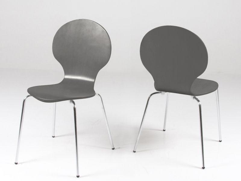 Design Scandinavia Jídelní překližková židle Line (SET 4 ks), šedá