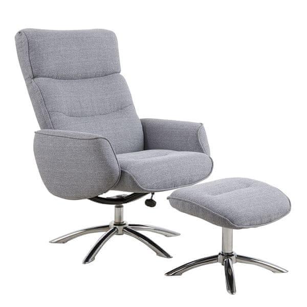 Design Scandinavia Relaxační křeslo s podnožkou Nordy, šedá