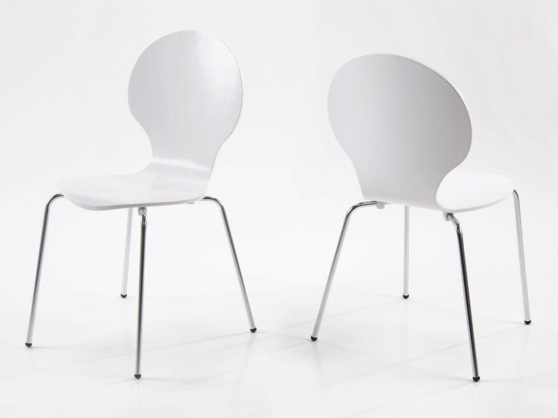 Design Scandinavia Jídelní překližková židle Line (SET 4 ks), bílá