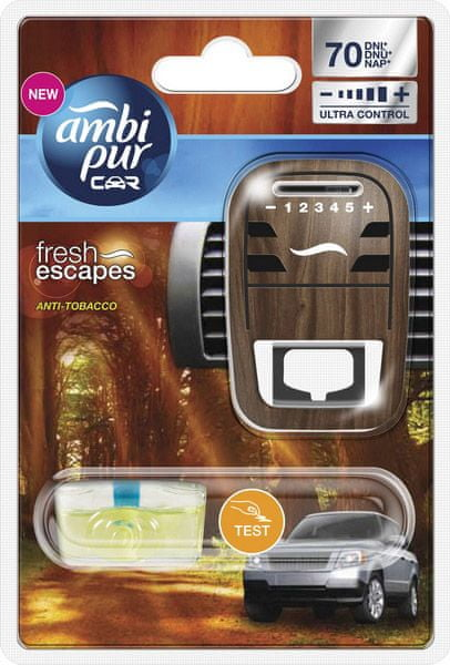 Ambi Pur Osvěžovač vzduchu, Car Fresh Escapes - Anti Tobacco, strojek + náplň 7 ml