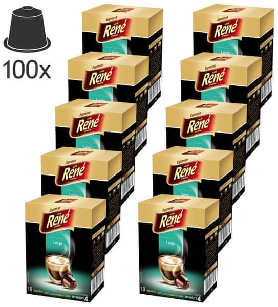 René Espresso Lungo kapsle pro kávovary Nespresso, 100ks