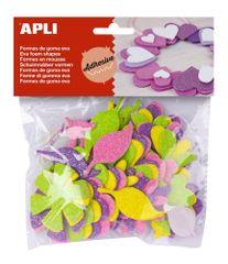 Pěnovka APLI tvarová samol. třpytky květiny/48 ks