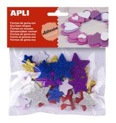Pěnovka APLI tvarová samol. třpytky hvězdy/50 ks
