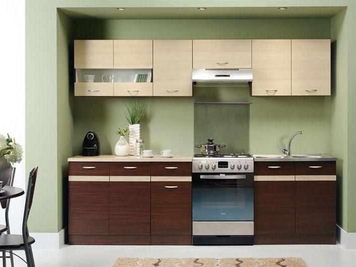 Kuchyně ELIZA 200/260 cm, dub wenge/rijeka světlá