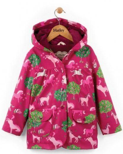 Hatley Dívčí nepromokavý kabátek s koňmi - růžový 98