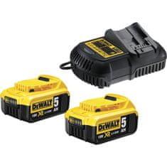 DeWalt set dveh baterij, 18 V, 5,0 Ah in polnilnik DCB115 (DCB115P2)