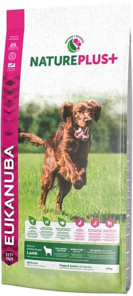 Eukanuba Nature Plus+ Puppy & Junior Rich in freshly frozen Lamb 14kg