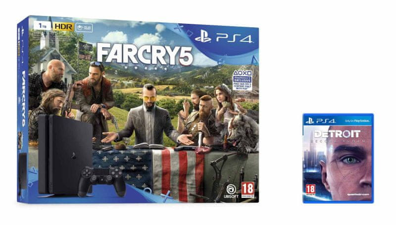Sony PlayStation 4 Slim - 1TB + Far Cry 5 + Detroit: Become Human