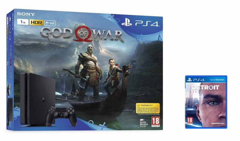Sony PlayStation 4 Slim - 1TB + God of War + Detroit: Become Human