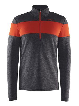 Craft moški pulover Spark Halfzip M Black Melange, črno/rdeč, S