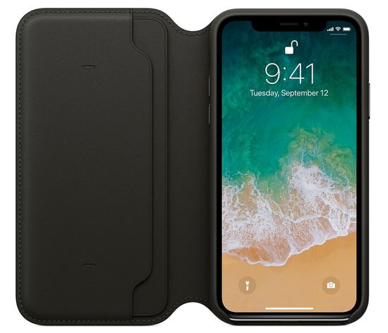 Apple usnjen ovitek Leather Folio za iPhone X, črn