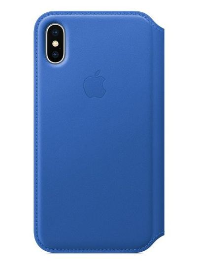 Apple usnjen ovitek Leather Folio za iPhone X, električno moder
