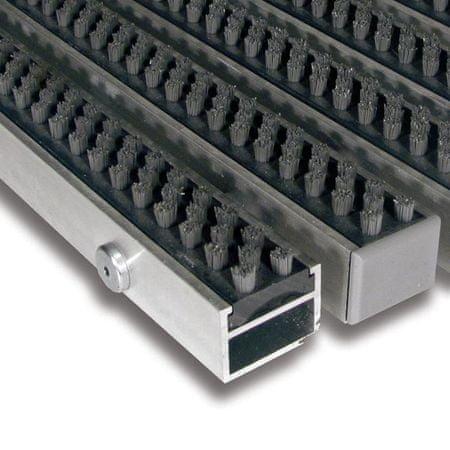 FLOMAT Šedá hliníková čistící kartáčová venkovní vstupní rohož Alu Super - 150 x 100 x 2,7 cm
