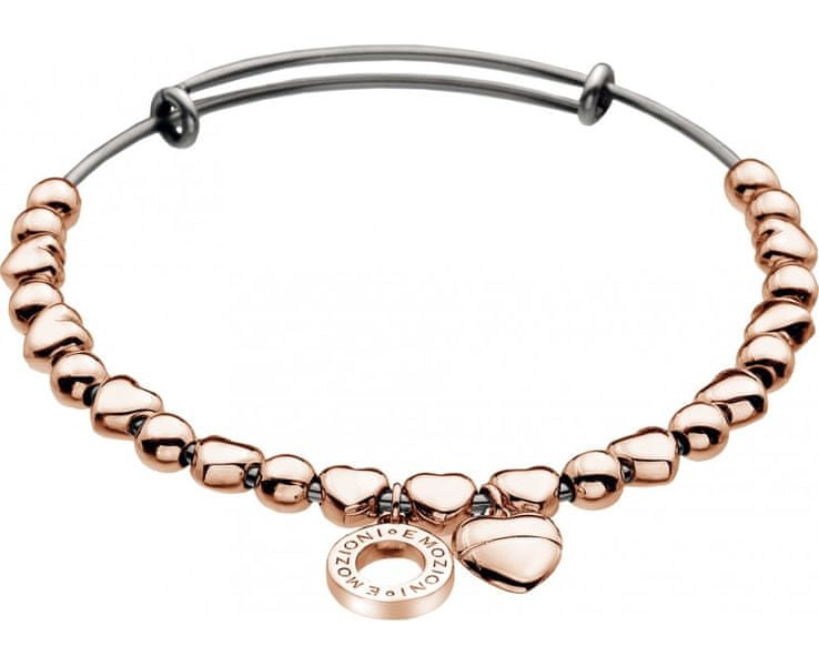 Hot Diamonds Ocelový náramek Emozioni Rose Gold Plate Heart DC095