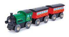 Hape lokomotywa parowa z wagonami