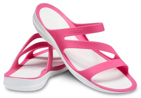 Crocs ženski natikači SwiftWater Sandal W Paradise Pink/bela W6, 36,5, roza/bela