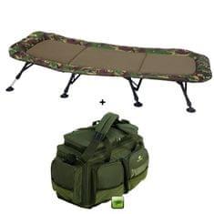 Giants Fishing Set Lehátko Flat Fleece Camo XXL 8Leg + Cestovní taška Deluxe XL