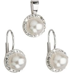 Evolution Group Sada s perlami a krystaly Swarovski 39091.1 bílá stříbro 925/1000