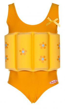 Beverly Kids Dievčenské nadnášajúca plavky s kvietkami 98 žlté