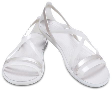 Crocs ženski sandali Isabella Strappy Sandal W Oyster/Pearl White W8, 38,5, beli/srebrni