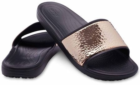 Crocs ženski natikači Sloane Hammered Met Slide W Black/Rose Gold W8, 38,5, črna/zlata
