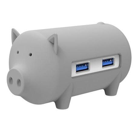 Orico USB vozlišče Little pig s 3 vhodi, USB 3.0, čitalec kartic, OTG, siv