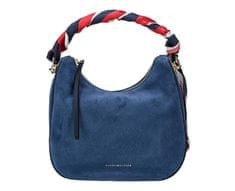 Tommy Hilfiger Dámská kabelka Iconic Foulard Leather Sm Hobo Suede Dutch Blue