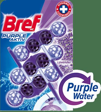 Bref čistilo za wc školjko Purple Aktiv Lavender, 3 x 50 g