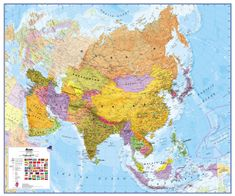 Asie politická nástěnná mapa 120x100 cm